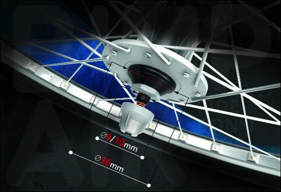 Le système Bimp'Air est compatible avec un diamètre maximal de 36 mmm et un axe de 9/10